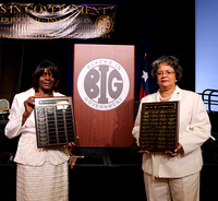Theresa & Edna hold two supplemental  mini-plaque walls